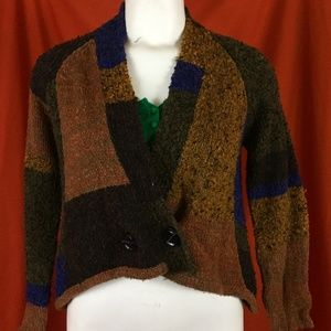 VINTAGE 90s Fall Wool Patchwork Cardigan